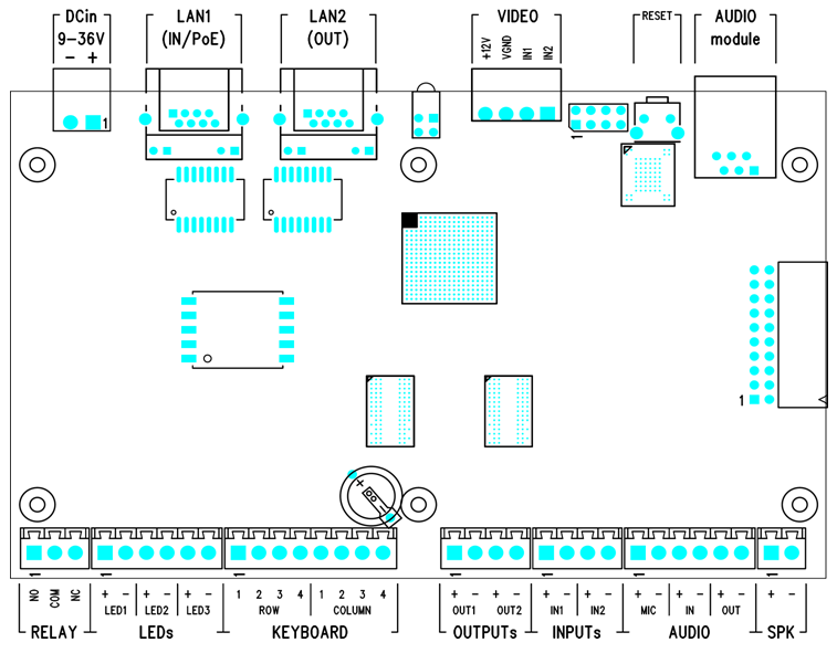 figures below show the layout of the 2n ip video kit connectors and terminals